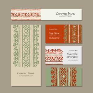 business cards design, folk ornament