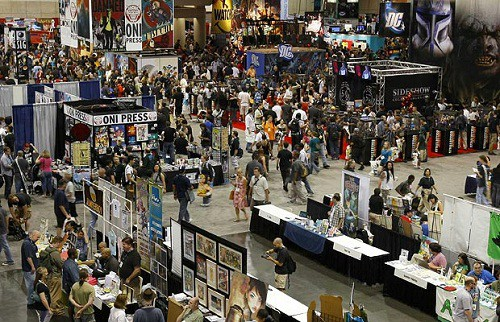 A bird's-eye view of all of the booth displays at San Diego Comic Con